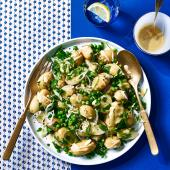 Potato and pea salad with herb dressing
