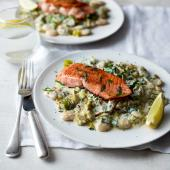 Salmon with creamy leeks and butter beans