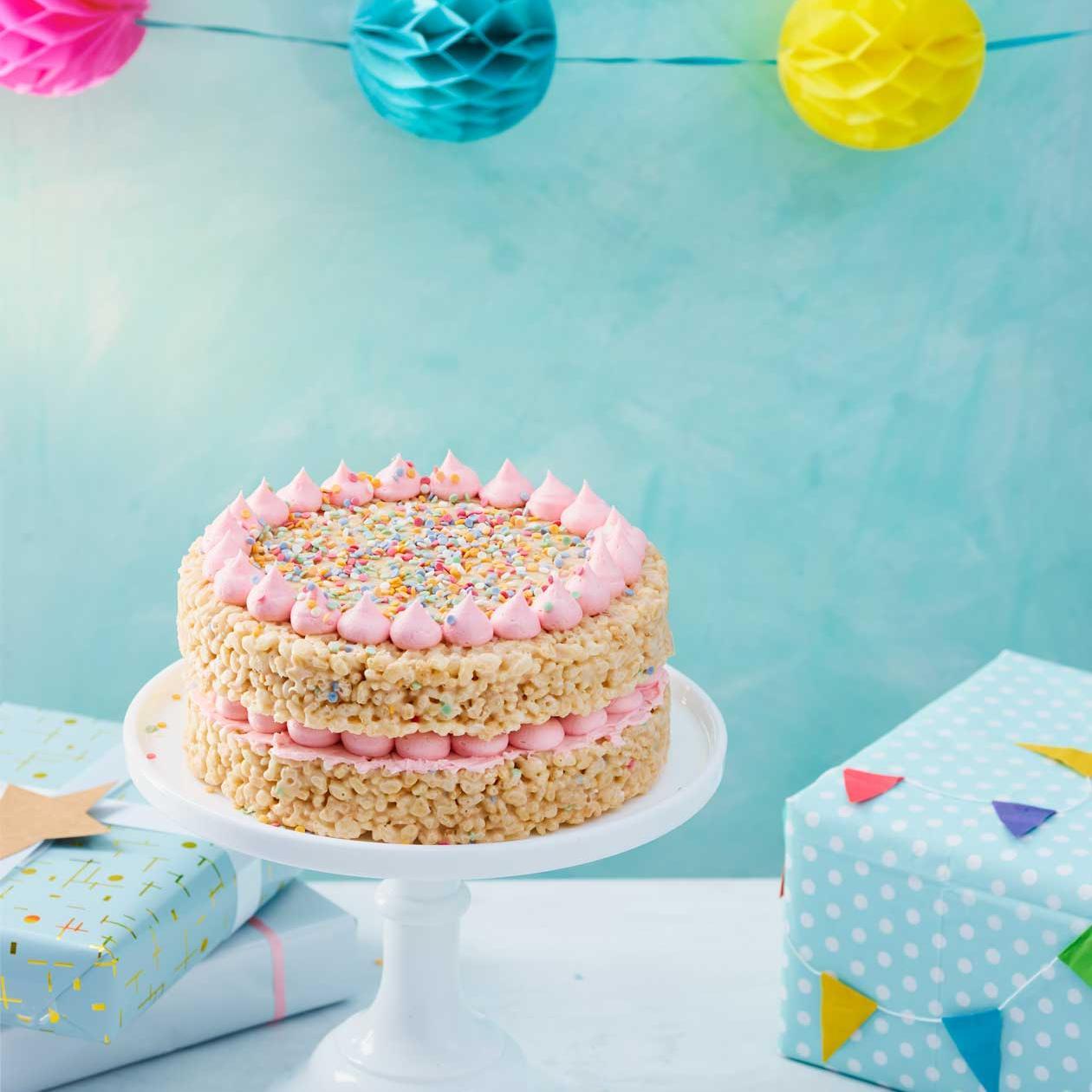 Peachy Rice Crispie Celebration Cake Recipe Sainsburys Magazine Personalised Birthday Cards Cominlily Jamesorg