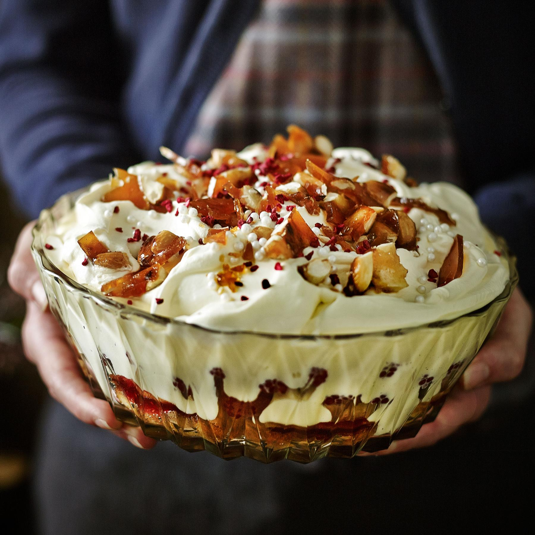 Raspberry And Amaretto Trifle With Salted Caramelised Almonds