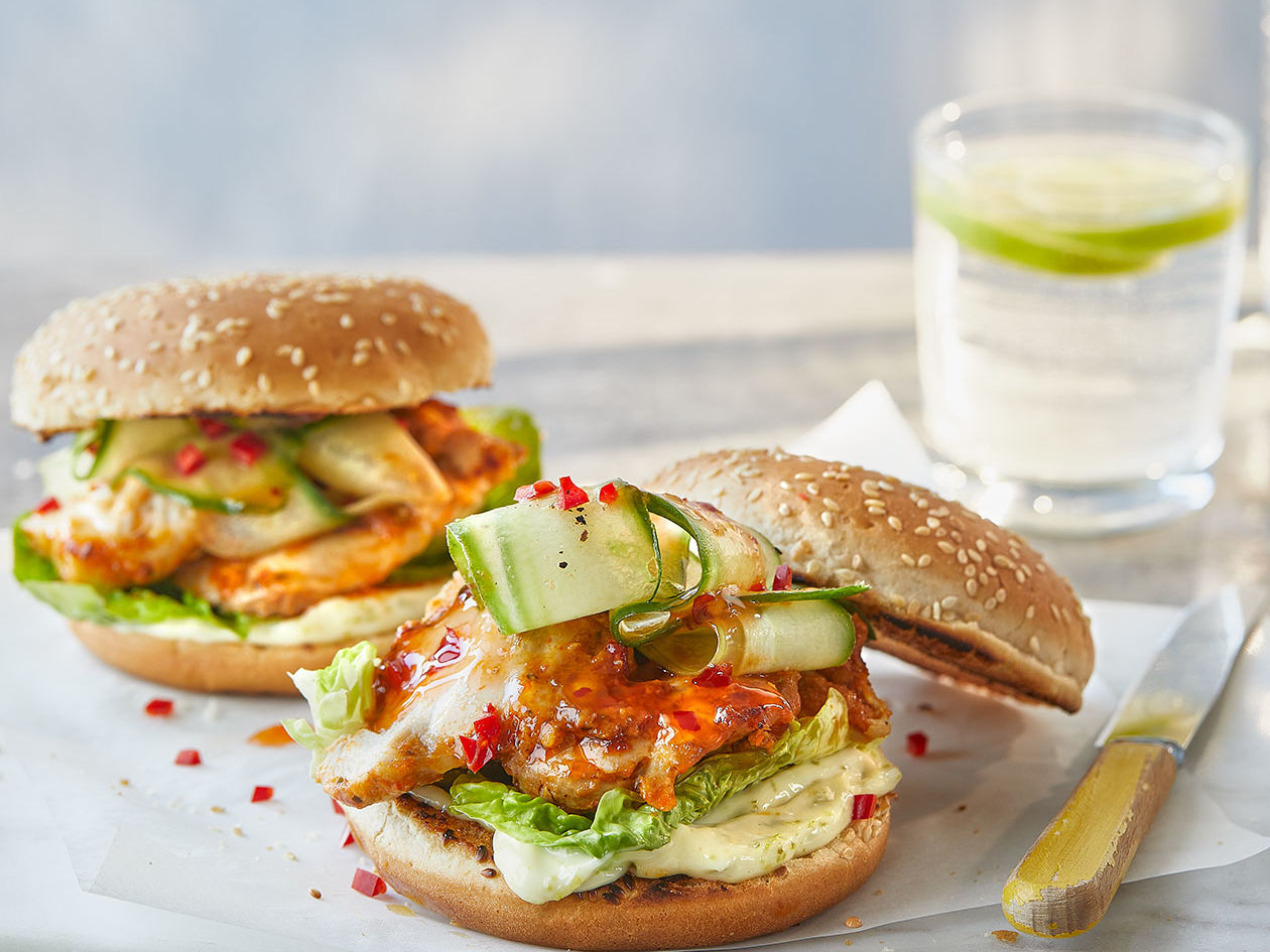 Thai Chicken Burgers Recipe Sainsbury S Magazine
