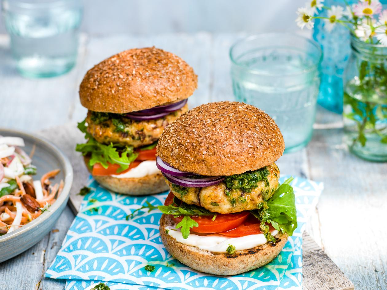 Herby Chicken Burgers With Salsa Verde Recipe Sainsbury S Magazine