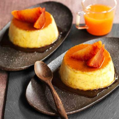 Blood orange and rosemary caramel puddings