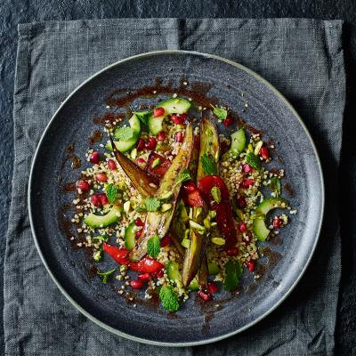 Roasted aubergine and pomegranate salad