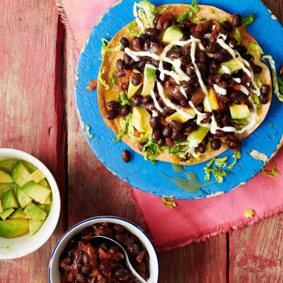 Avocado and black bean tacos