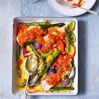 Salsa salmon and summer veg traybake