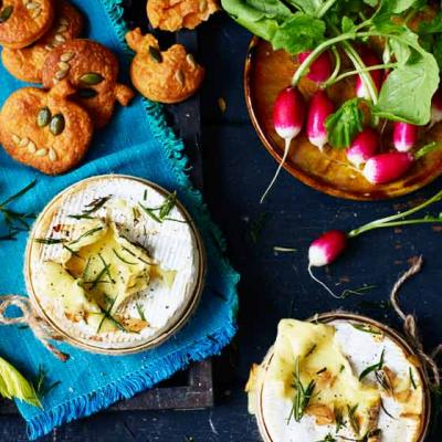 Baked Camembert with pumpkin dippers and crudités
