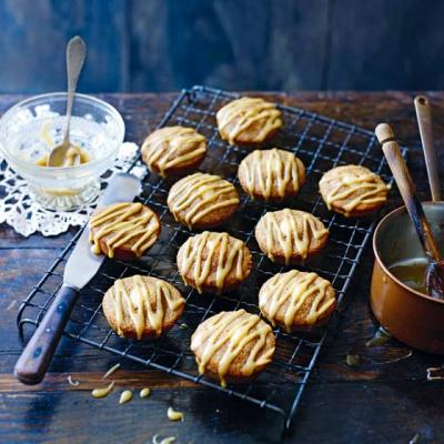 Coffee, cardamom and almond friands with toffee drizzle