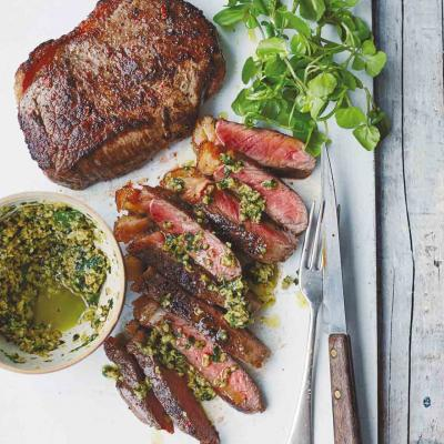 Steak with green olive tapenade and garlic mayo