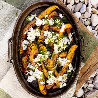 Sizzling squash with herby cucumber yogurt