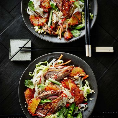 Vietnamese-style crispy duck salad with blood oranges