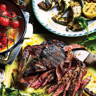 Coffee and rum-marinated steaks