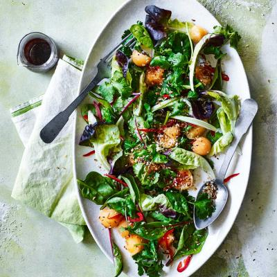Asian melon salad with zingy lime dressing