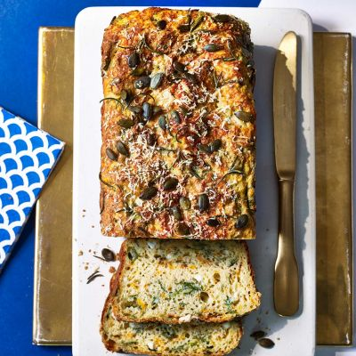 Spinach, feta and squash loaf