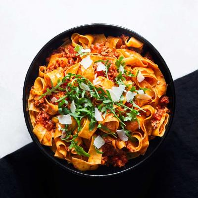 Pappardelle with rosemary and sausage ragu