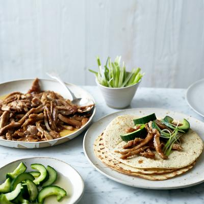 Hoisin chicken wraps with quick pickled cucumber