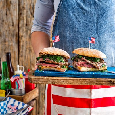 Fire-grilled steak sandwich with chimichurri