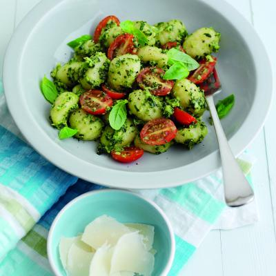 Summer gnocchi with avocado pesto and tomatoes