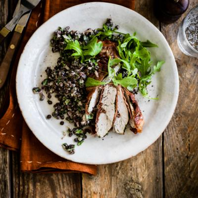 Parma ham-wrapped chicken with creamy lentils