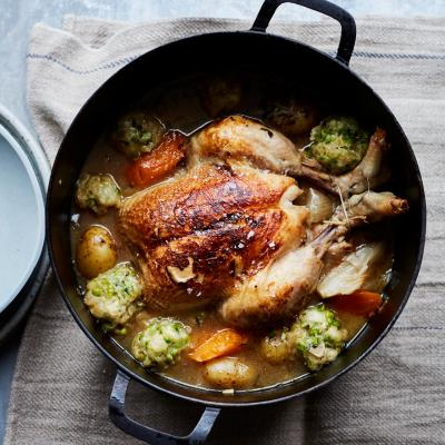 Slow-cooked chook with pea and parsley dumplings