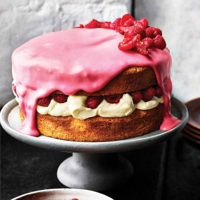 White chocolate, raspberry and rose cake