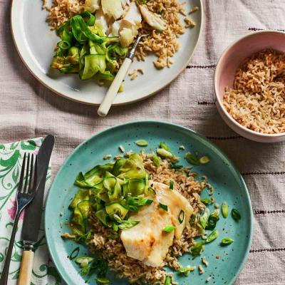 Miso cod with sesame cucumbers