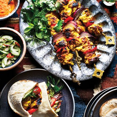 Turmeric and saffron chicken pitta with blackened chilli sauce