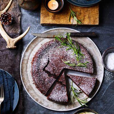 Chocolate, red wine and rosemary torte