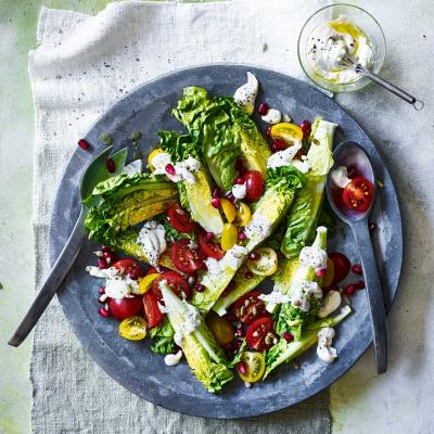 Little Gem, tomato and pomegranate salad