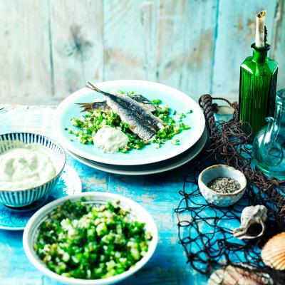 Sardines with cucumber salsa verde salad and garlic mayonnaise