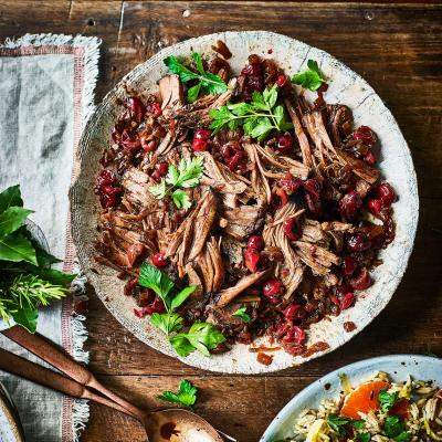 Slow-cooked spiced beef brisket with cranberries