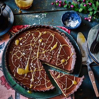 Salted maple chocolate tart