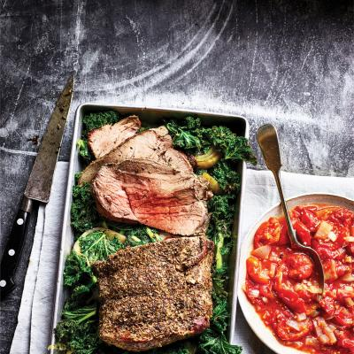 Oregano roast beef with crispy kale