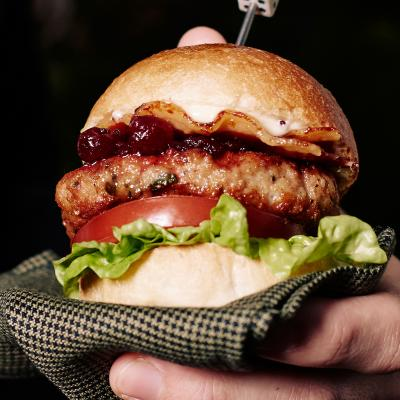 Sage turkey burgers with cranberry sauce