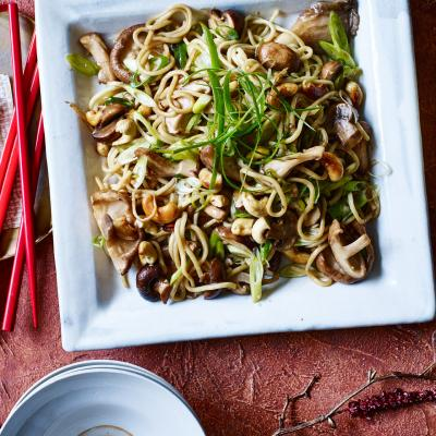 Mushroom and cashew stir-fried noodles