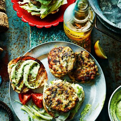 Squid and mackerel burgers