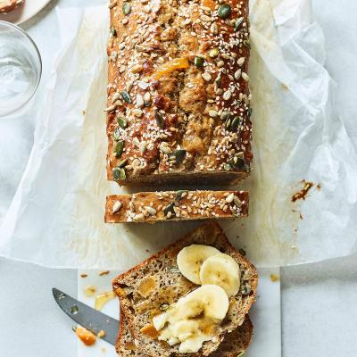 Seeded banana and apricot loaf