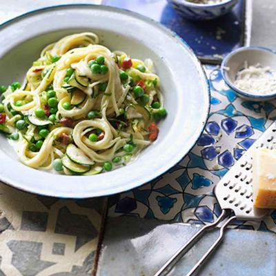 Courgette and pancetta carbonara