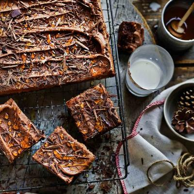 Double chocolate fudge traybake with chocolate cinnamon frosting