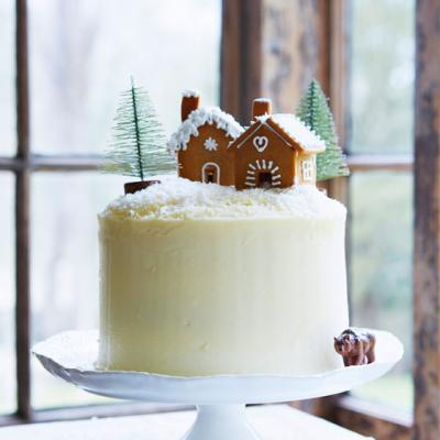 Gingerbread layer cake with maple icing