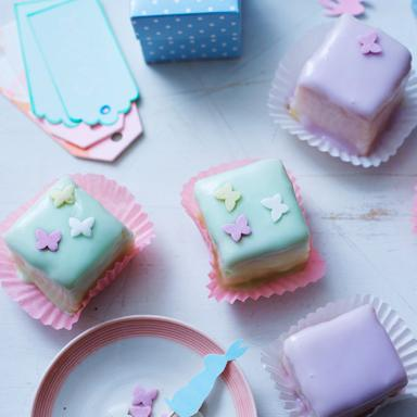 Lemon and almond fondant fancies