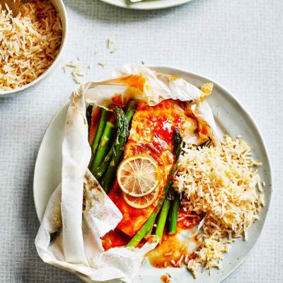 Harissa salmon parcels with coconut rice