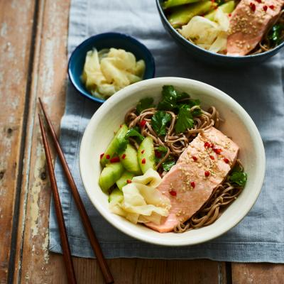 Ginger salmon with sesame noodles and cucumber salad