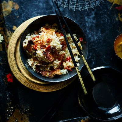 Scorched mushroom and ginger rice