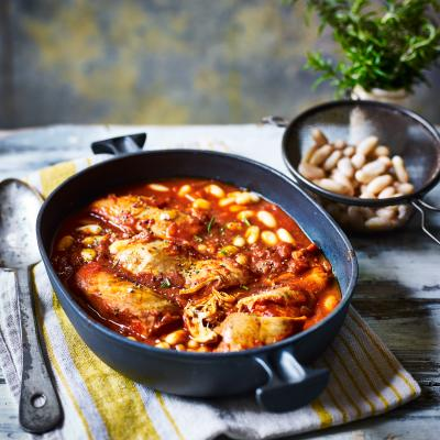 Leaner chicken cacciatore with cannellini beans and rosemary