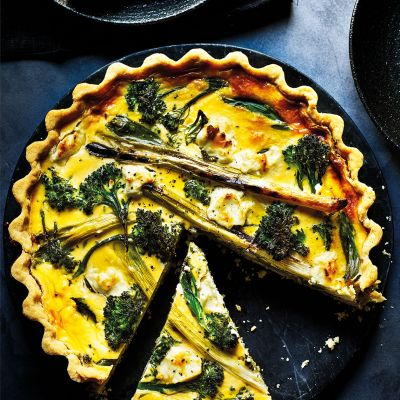 Tenderstem and goats' cheese quiche