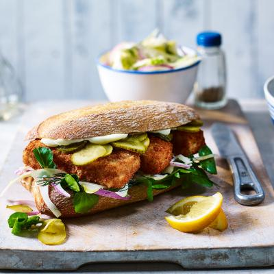 Fish finger sarnies with fennel slaw