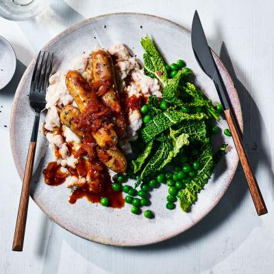 Healthier bangers and mash
