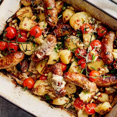All-in one sausage and crispy potato bake