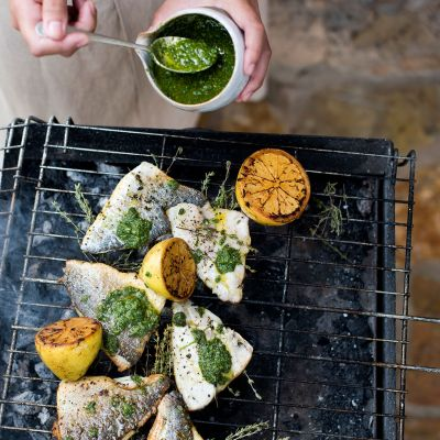 Barbecued fish with mojo verde